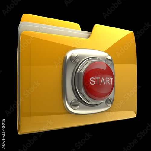 Yellow folder with Red START button isolated