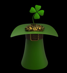 Hat with gold and clovers isolated on black