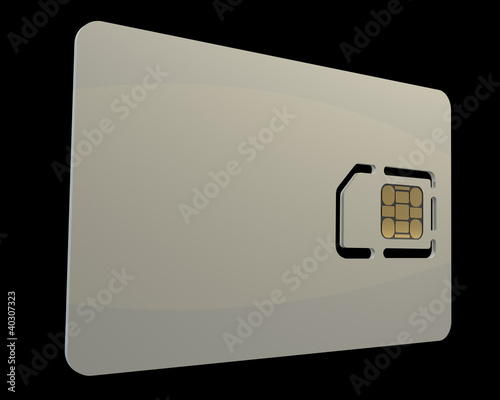 Blank sim card isolated on black background
