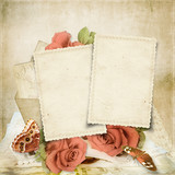 Vintage background with roses and old cards