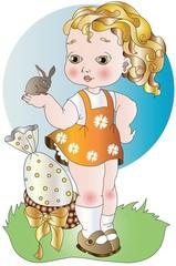 bambina con coniglietto augurale