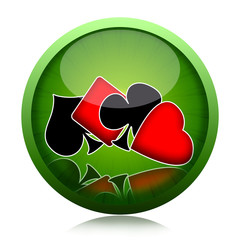 Poker game icon with four playing cards suits