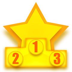 Winners podium with golden star