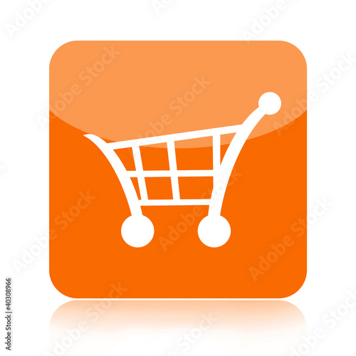 Shopping cart orange button isolated on white