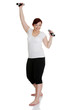 Young woman during fitness time and exercising with dumbbells
