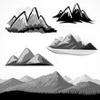 ABSTRACT B/W MOUNTAIN AND HILLS ICON SET