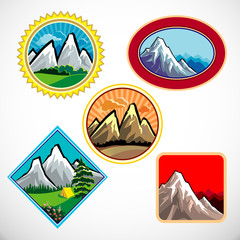 ABSTRACT MOUNTAIN AND HILLS LABEL SET