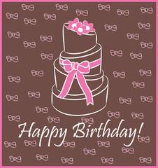 Vector birthday cake . Greeting Card