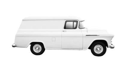 Vintage White Delivery Van on White side view