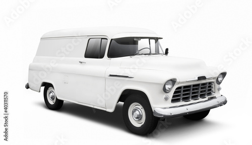 Vintage White Delivery Van on White with drop shadow