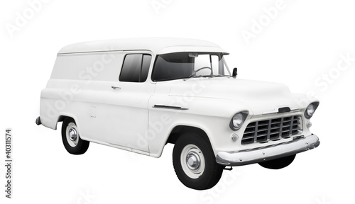 Vintage White Delivery Van on White