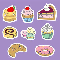 Set of cute sweet stickers