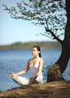 beautiful young girl training yoga near a lake under a tree