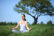 beautiful young girl training yoga on sunny meadow