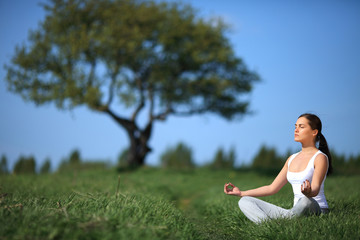 beautiful young girl training yoga on sunny meadow