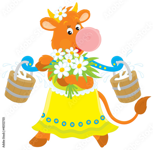 Cow with milk and flowers