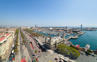 Wide angle shot of Barcelona port