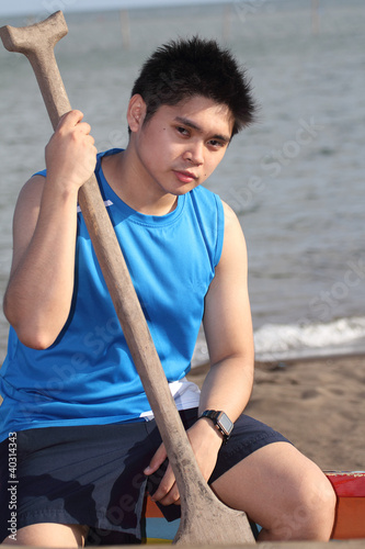 Man with Rowing Paddle