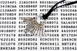 Bunch of silver keys on a sheet with encrypted data