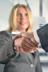 Business woman handshake to seal a deal