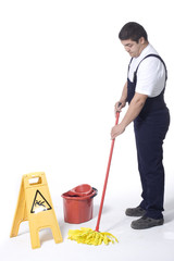 cleaner is mopping  floor