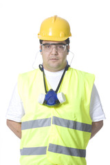 technician wearing safety uniform on white background