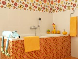 Children colorful bathroom with orange mosaic bathtub.