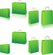 Eco green shopping bags set on white