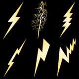 Lightning sign set isolated on black VECTOR