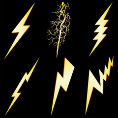 Lightning sign set isolated on black VECTOR