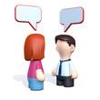Frau und Mann mit Sprechblasen