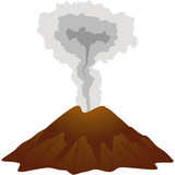 Dormant volcano icon. Isolated on white