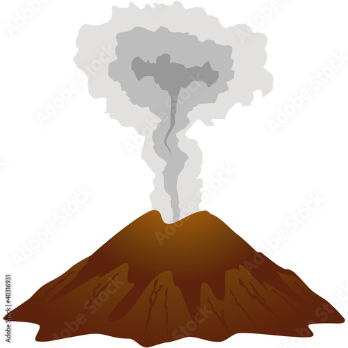Dormant volcano icon. Isolated on white - 40316931