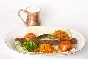 Turkish traditional kebab specials ready to serve with ayran