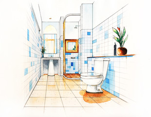 Bathroom Decorate Sketching design
