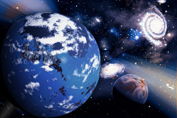 A space background with planet and stars