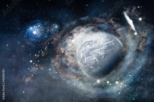 Space of galaxy with stars and planet