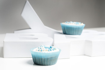 Newborn blue cupcakes with letters baby