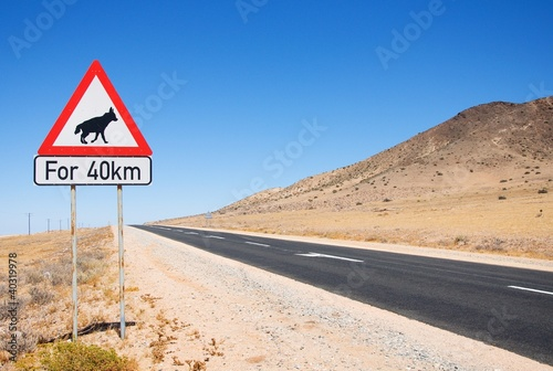 Warning of road sign - hyenas on the road, Namibia