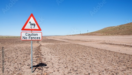 Warning of road sign - zebras on the road, Namibia