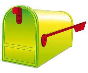Green metallic mailbox.