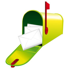 Opened green metallic mailbox. Red flag up.