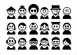 Set of avatar people icons.