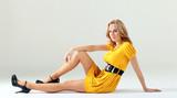 woman in yellow dress.
