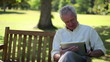 Retired man using an ebook
