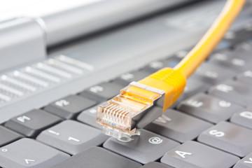 Netzwerkkabel vor einer Tastatur