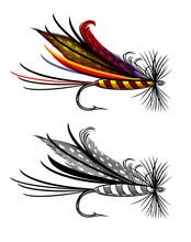 Ilustracja wektora wędkarstwo muchowe