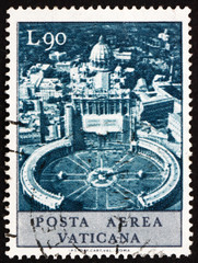 Postage stamp Vatican 1967 Aerial View of St. Peter's Square