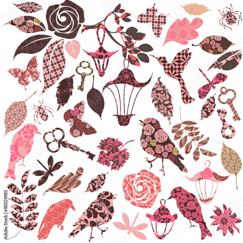 Set of vector patch silhouettes for scrap booking