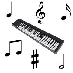 Sythétiseur et notes de musique